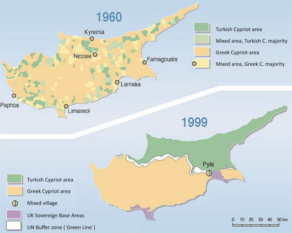 Population of the Cyprus by ethnicity (1960 vs 1999)