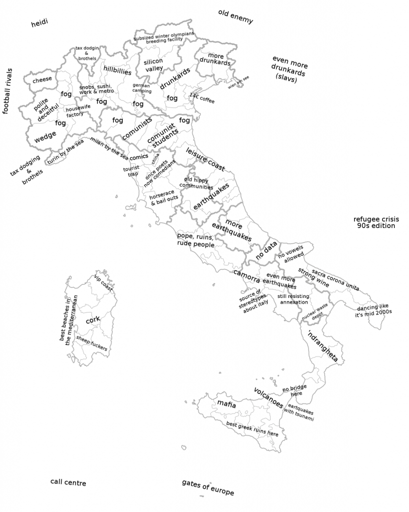 Italy stereotype map