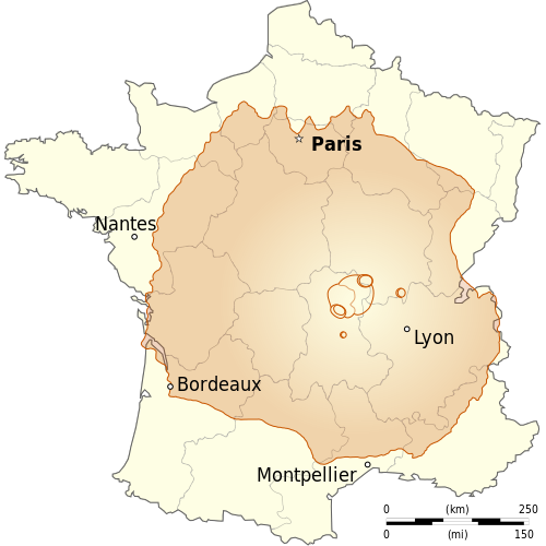 Olympus Mons, Mars' largest volcano, compared to France