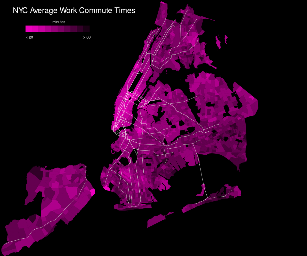 NYC average work commute times