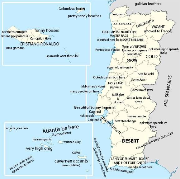 Portugal stereotype map