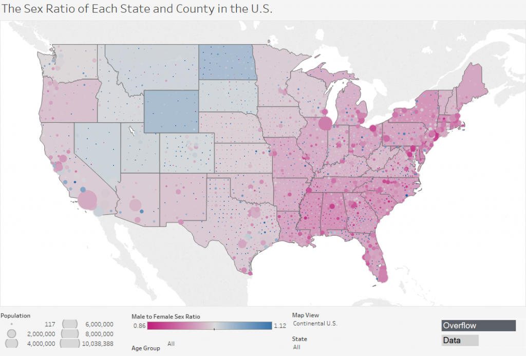 The Sex Ratio of Each State & County in the United States