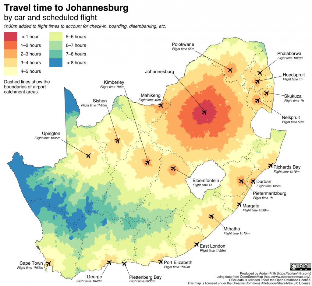 South Africa drive time map