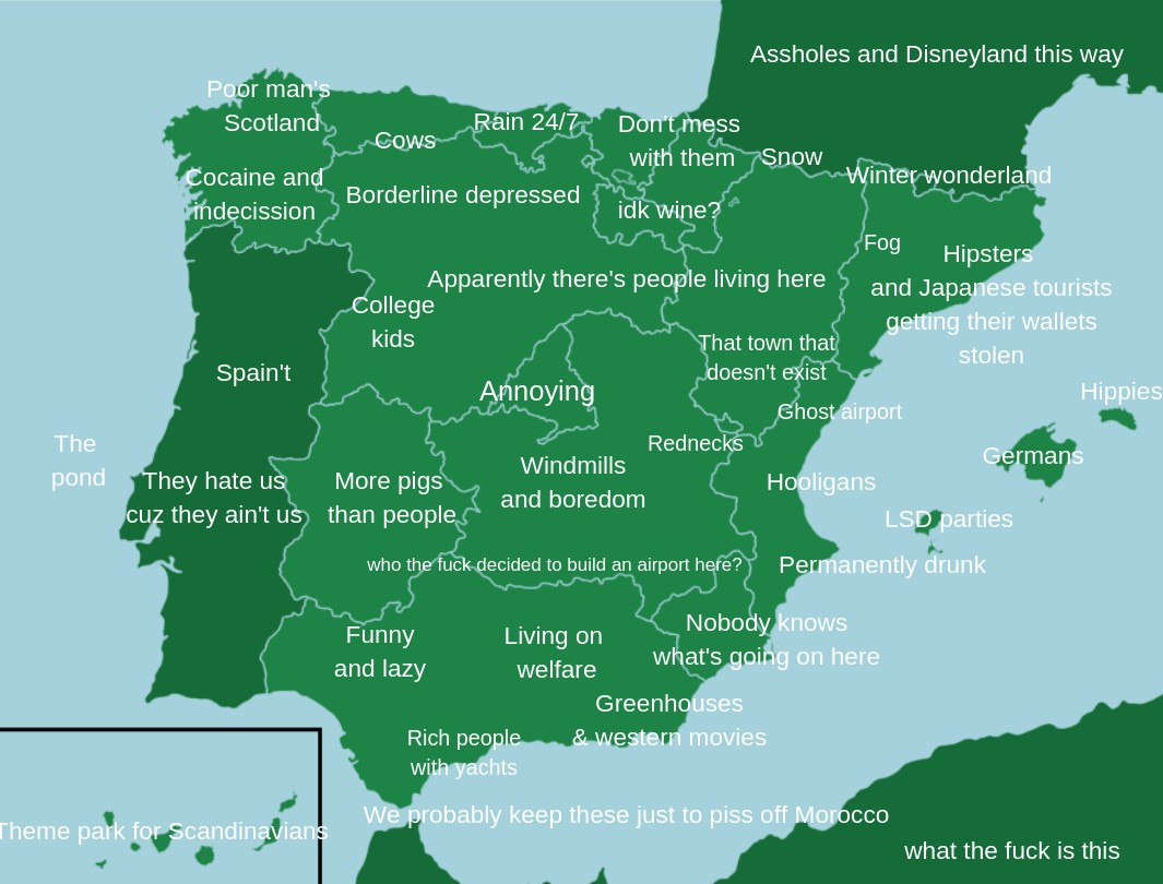 Stereotype map of Spain