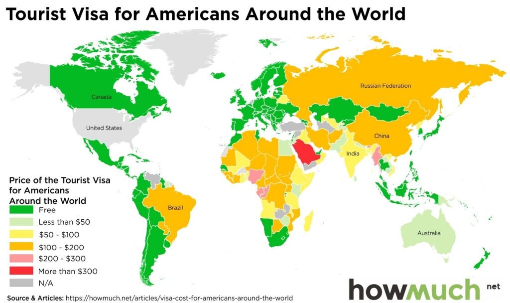 Tourist Visa For Americans Around The World Vivid Maps