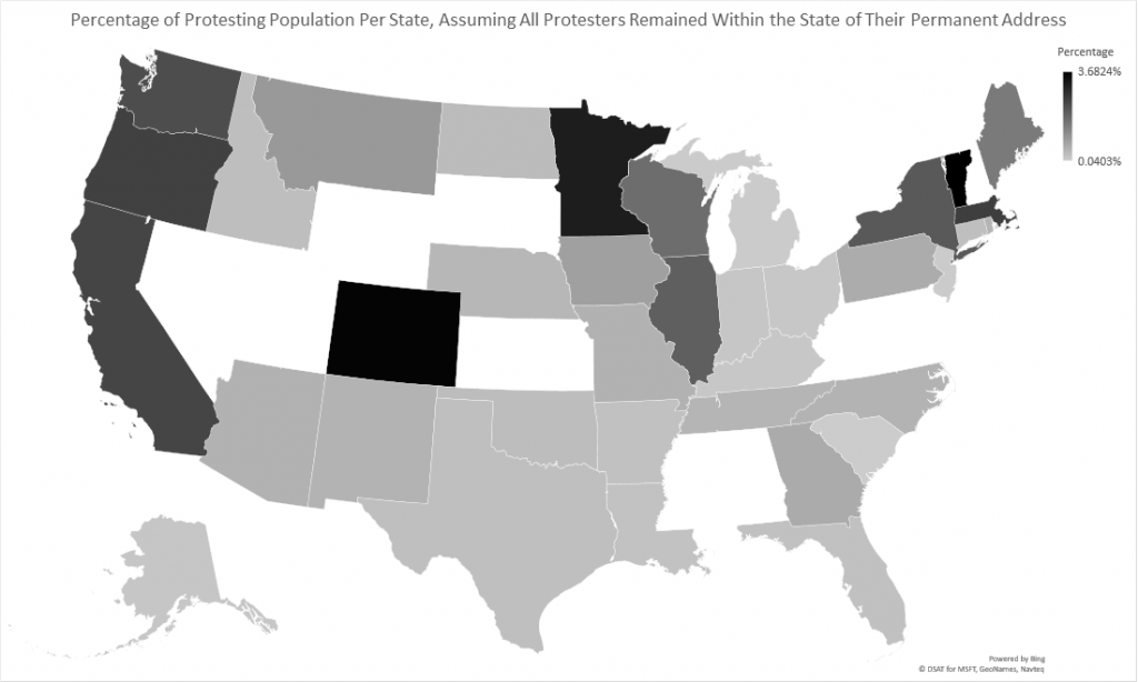 Percentage of protesting population per state, assuming all protest remained within the state of their permanent address