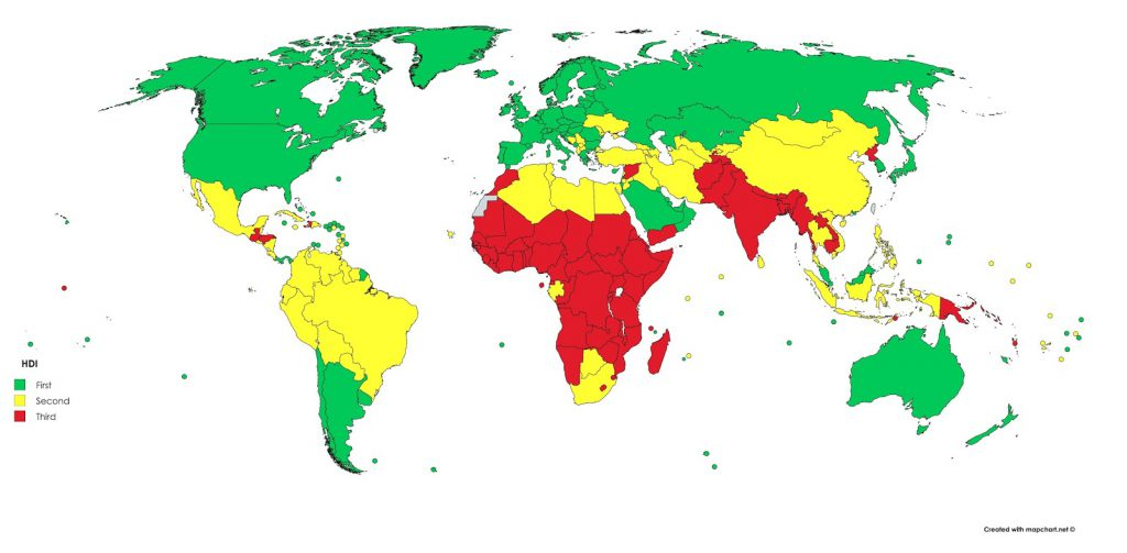 The new 1st, 2nd, and 3rd World according to Human Development Index (HDI)