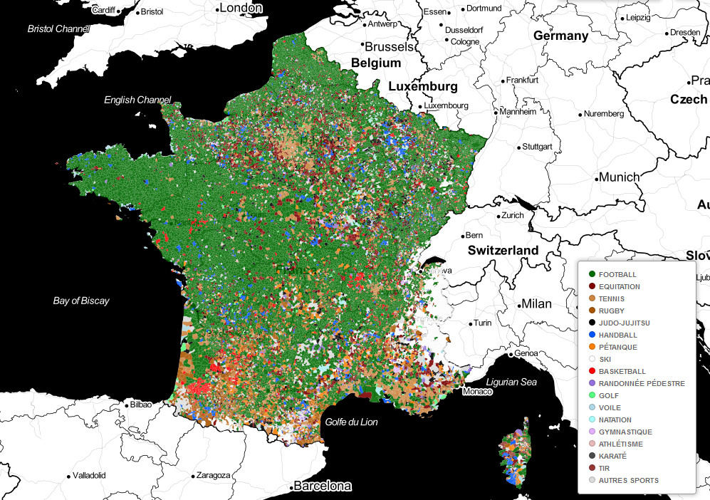 Most popular sports in France by commune