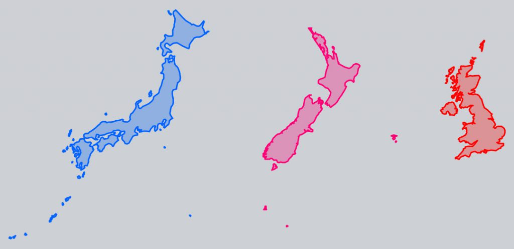 Japan, New Zealand and UK Size Comparison