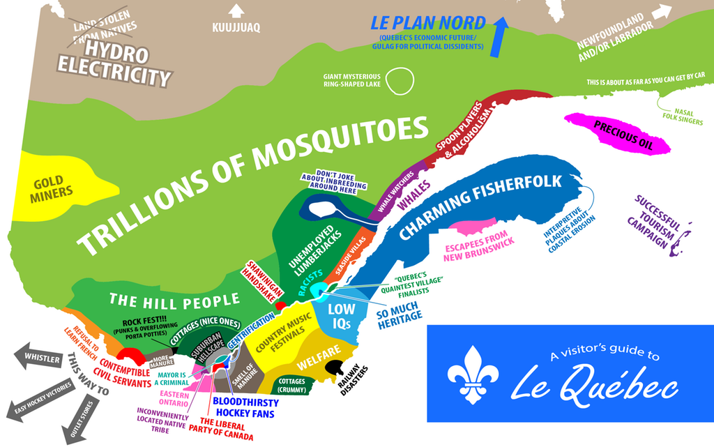A Stereotype map of Quebec for the Neighboring Anglophones