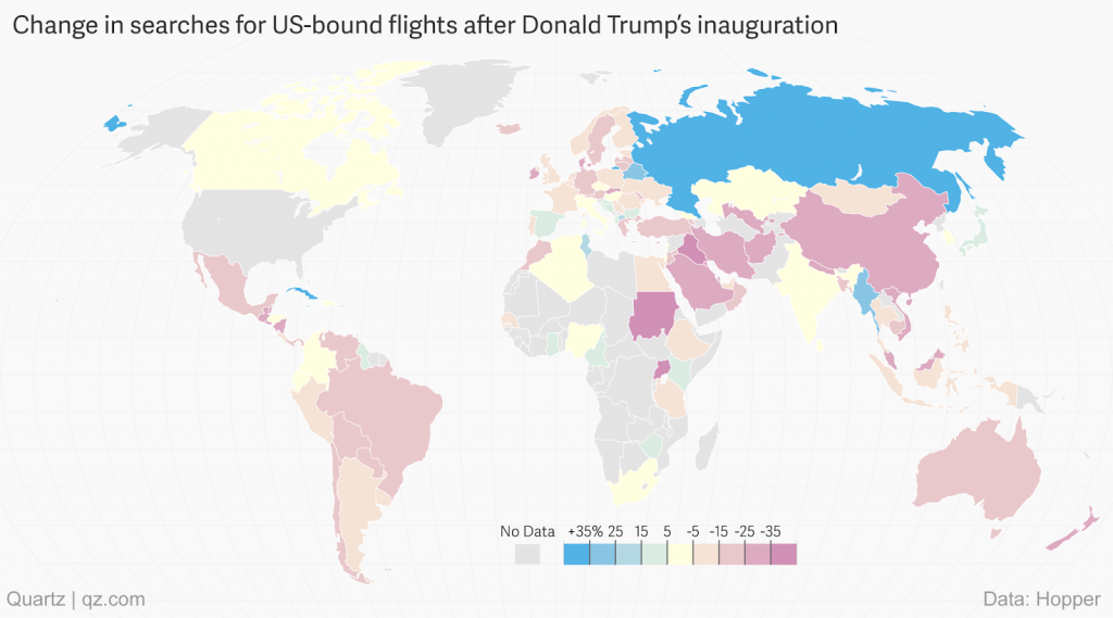 Change in searches for US-bound flights since Donald Trump's inauguration