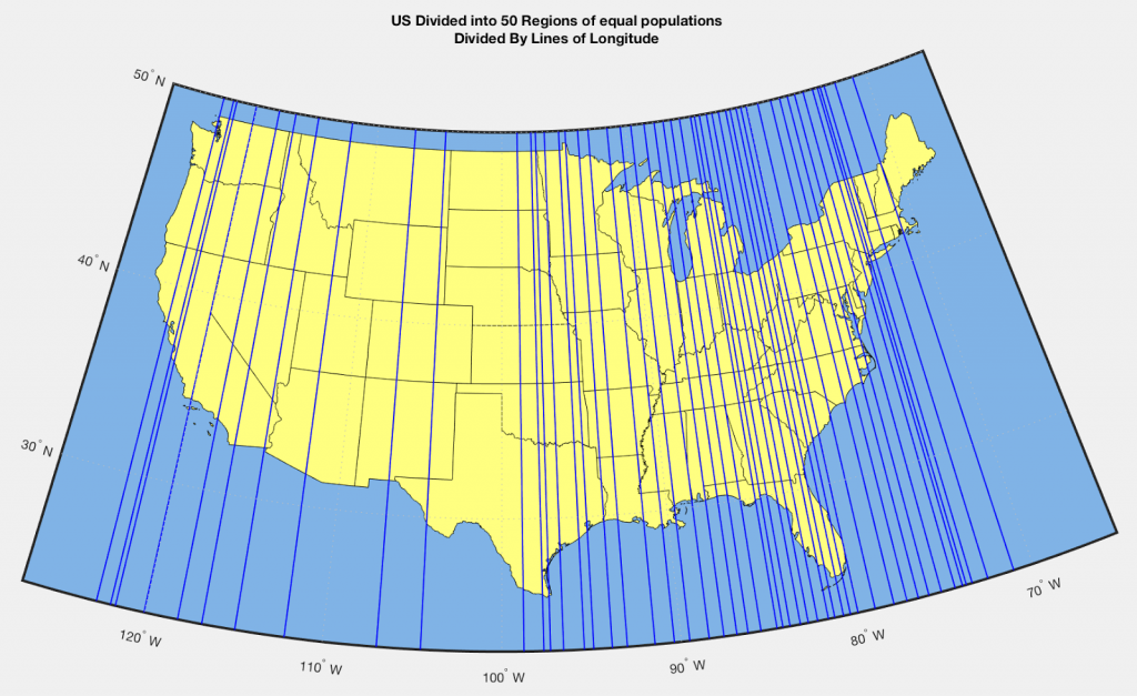 U.S. divided into 50 regions of equal population divided by lines of longitude