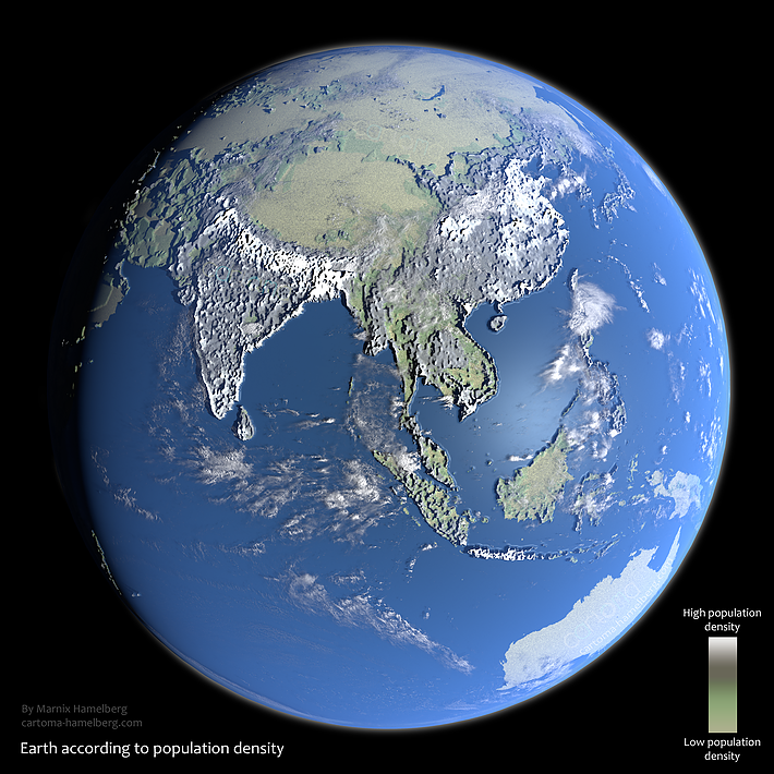 Earth according to population density