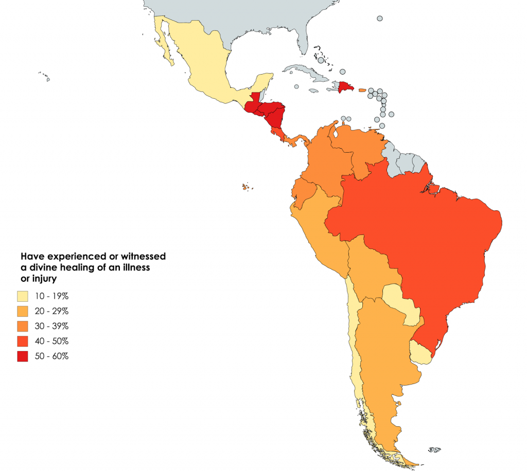 Latin American countries by percentage of people who say they have experienced or witnessed a divine healing of an illness or injury