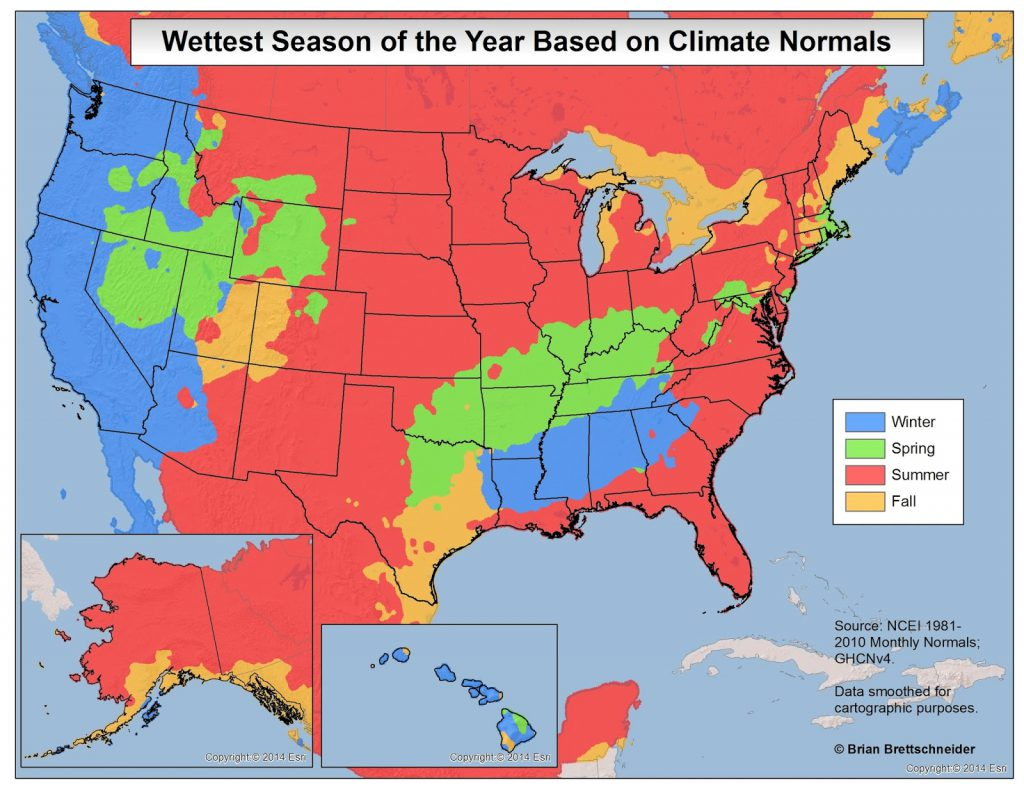 Wettest Season of the year based on climate normals