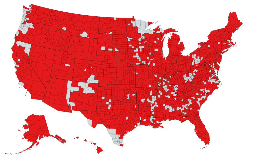 Each U.S. County that Ronald Reagan Won More Than 50% of the Vote in 1984