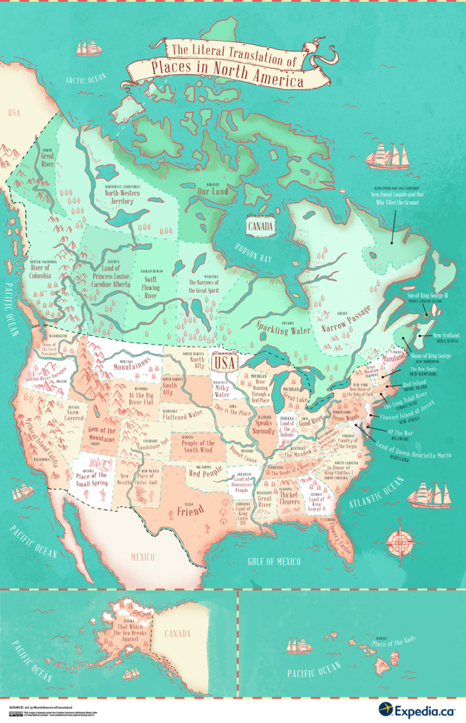 The literal translation of places in North America