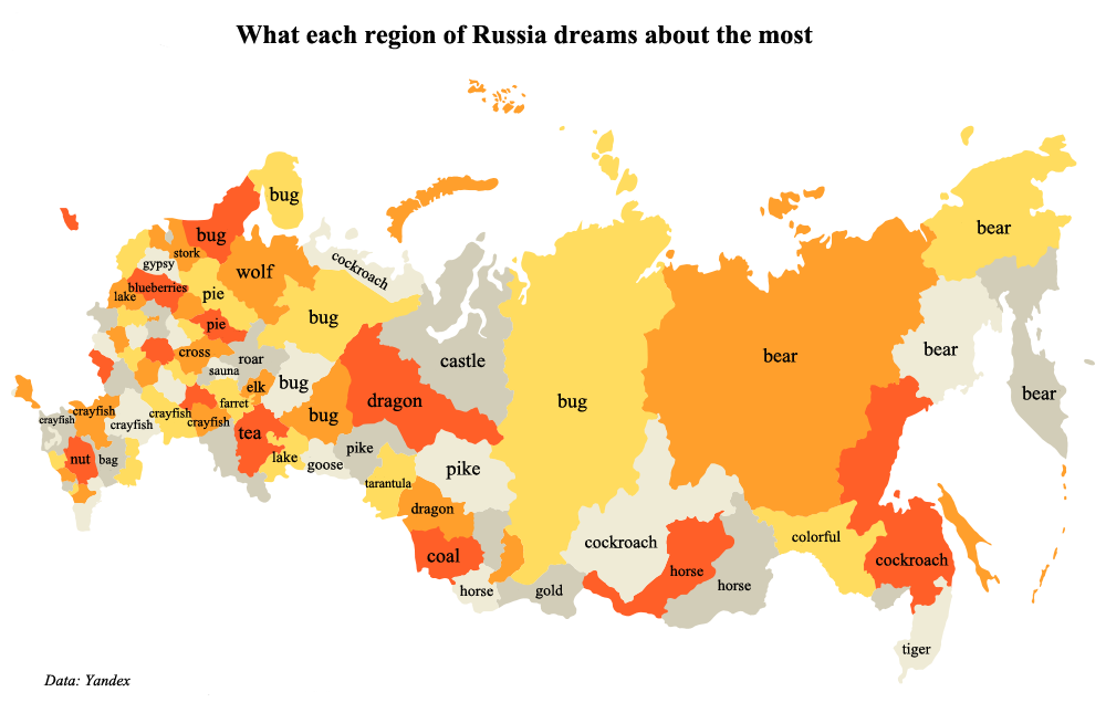 What each region of Russia dreams about the most