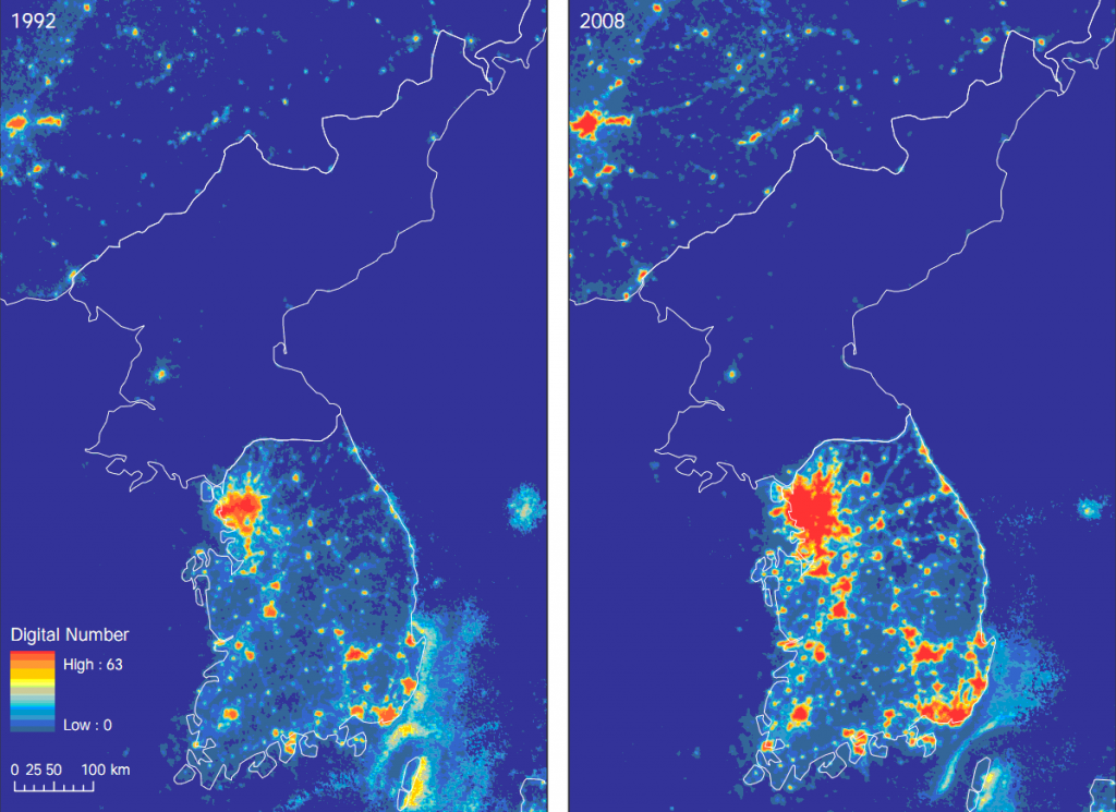 Heat map of the Korean Peninsula (1992 vs 2008)