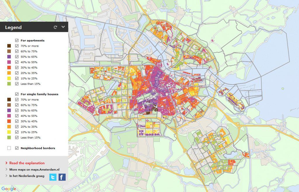 Amsterdam's map showing valuation of property