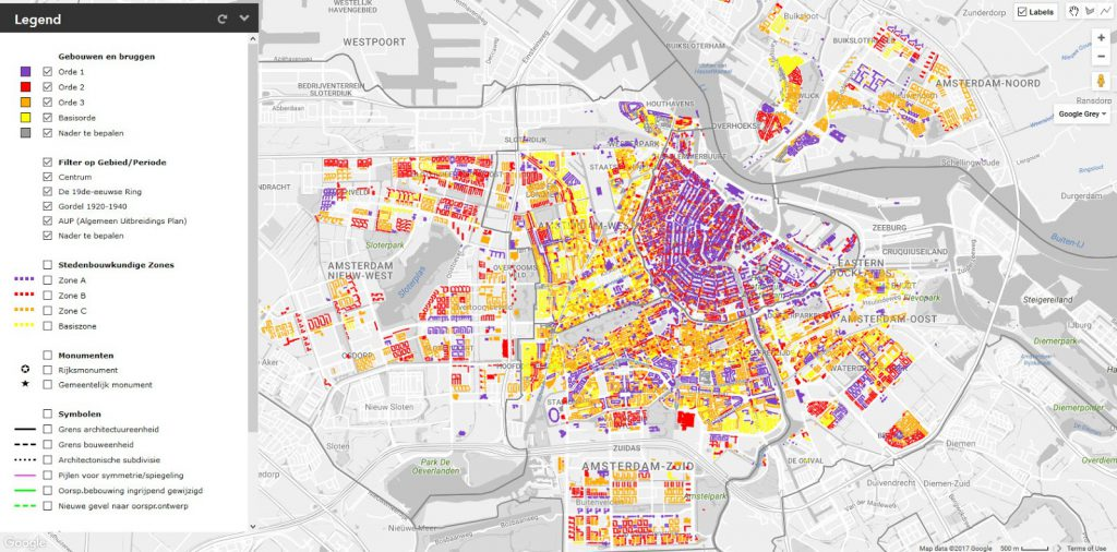 Amsterdam's map showing architectural quality
