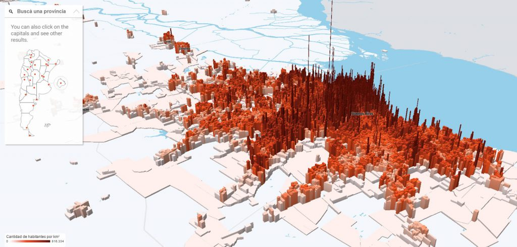 The population density in Argentina