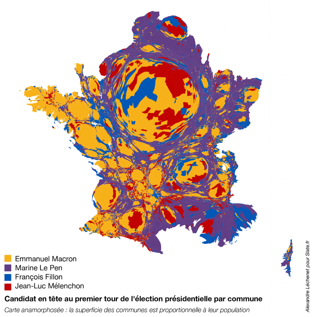 French Presidential Election Cartogram