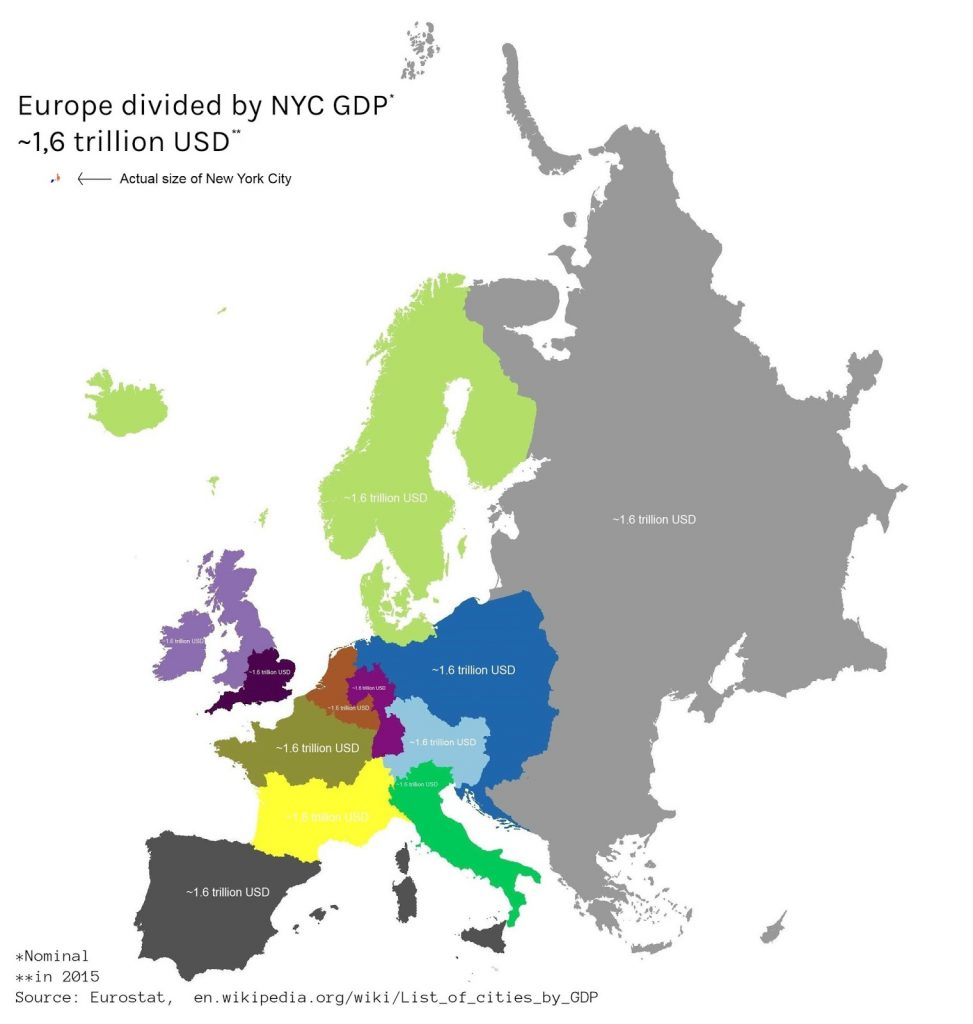 Europe divided by New York City GDP
