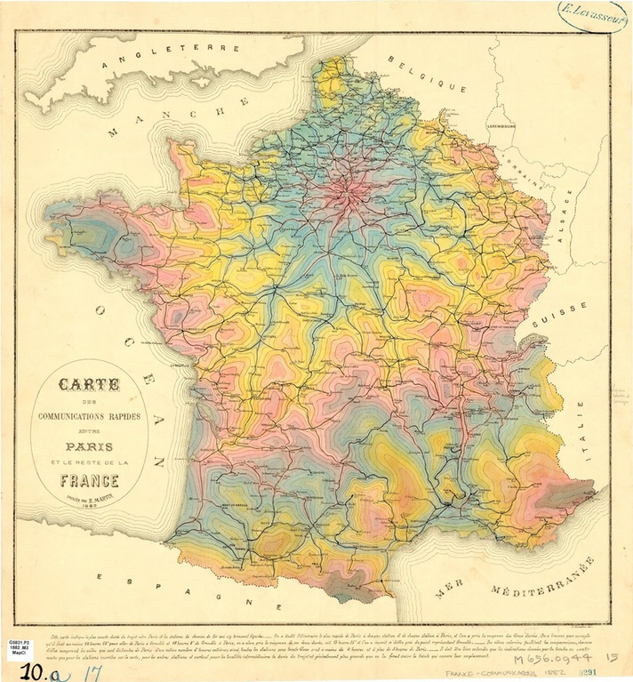 Isochrone Map from Paris (1882)