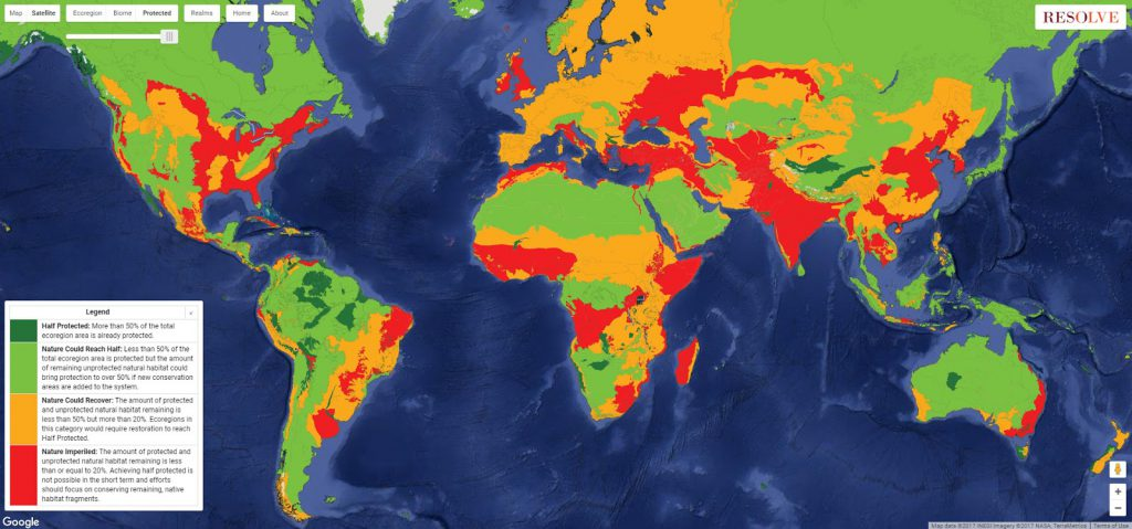 How can we save life on Earth? It happens within each community, ecoregion, and country as we choose to leave room for nature to thrive. This map charts our progress.