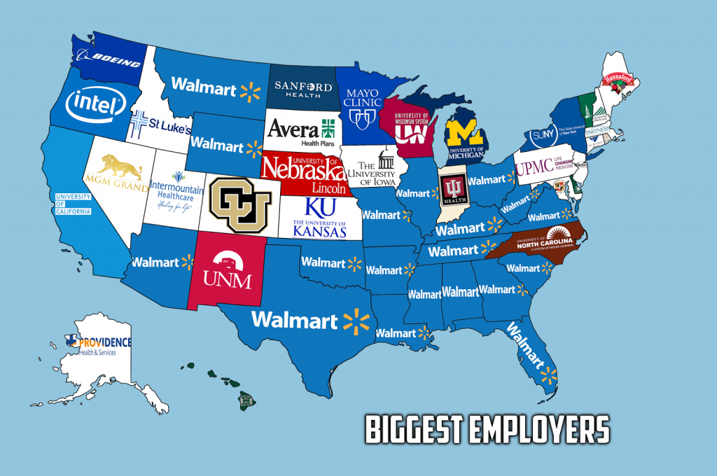 The Biggest Employer in Each US State Vivid Maps