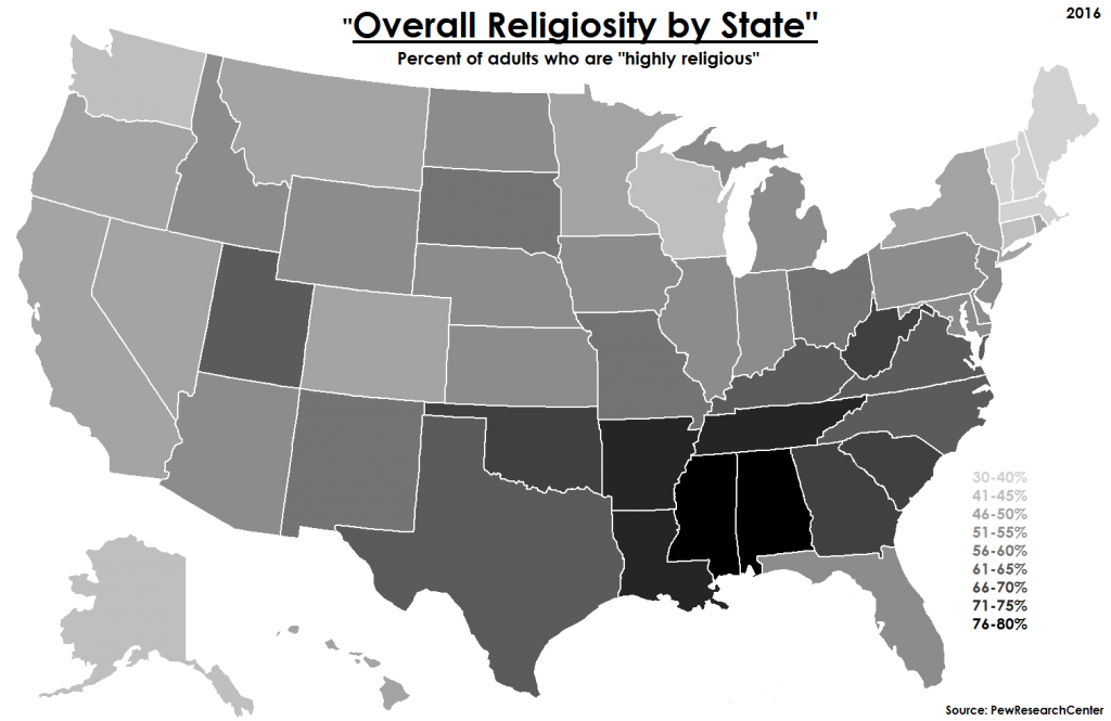 Overall Religiosity by US State (2016)