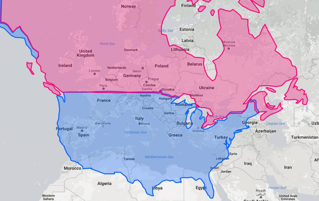 The U.S. and Canada at the same latitudes as Europe