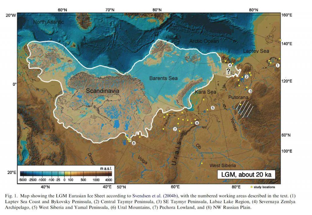 Siberia coastline of the Ice Age