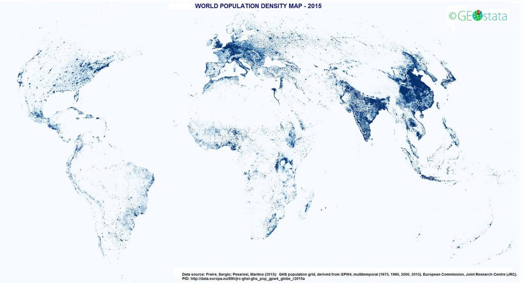 World population density without any boundaries