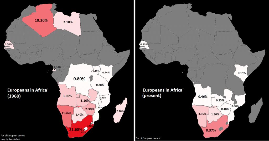 Europeans in Africa in 1960 vs today