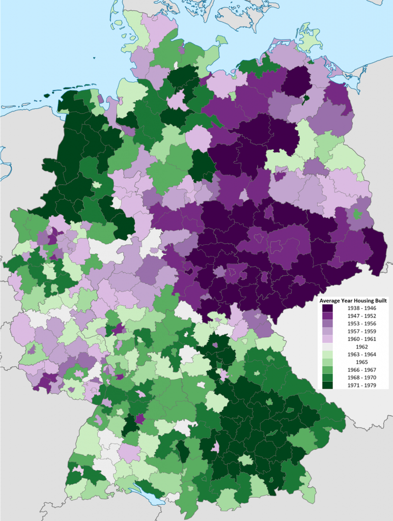 Average Year Housing Built by District in Germany