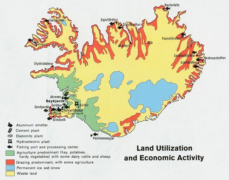 Iceland: Land Utilization & Economic Activity (1973)