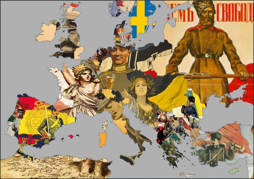 Map of Europe during World War I Respective Propaganda Posters