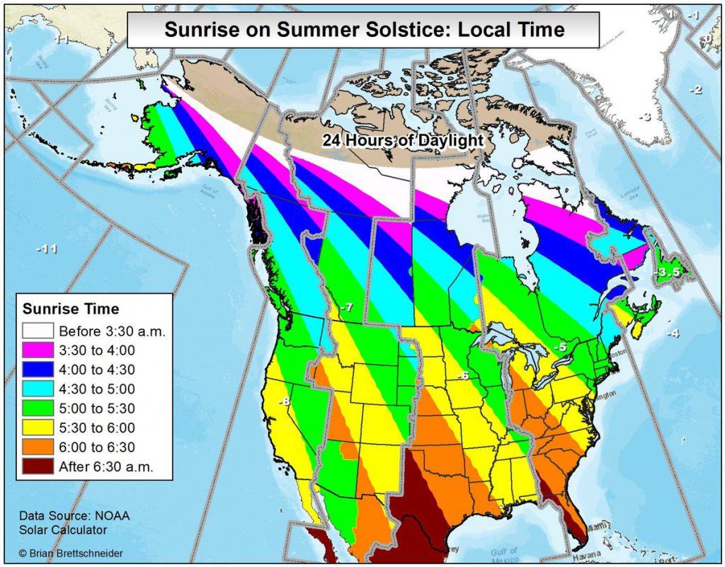 Sunrise on summer solstice map
