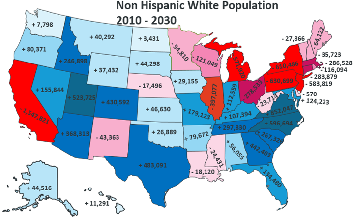 White Non-Hispanic population in America (2010 - 2030)