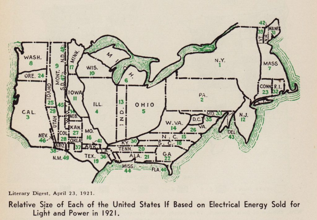 Map showing the relative size of each of the United States if based on Electrical energy sold for light and power (1921)