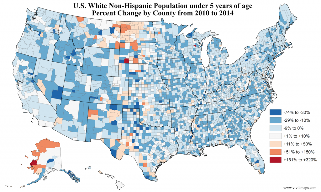 U.S. White Non-Hispanic Population under 5 years of age Percent Change by County (2010 - 2014)