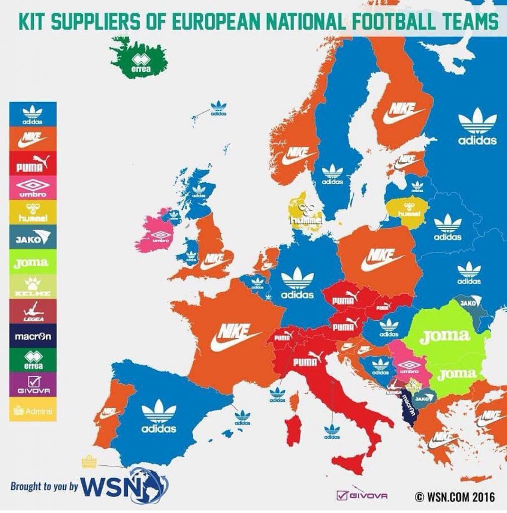 Kit Suppliers of national football teams of european countries