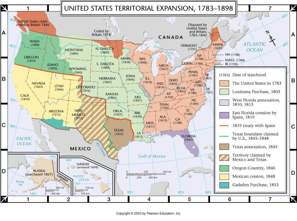 United States of America Territorial Expansion (1783 - 1898)