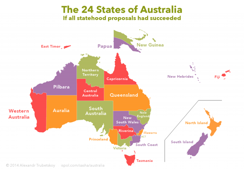 The 24 states of Australia: if all statehood proposals had been accepted