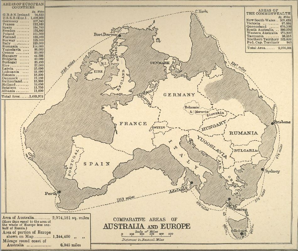 The comparative sizes of Australia and Europe