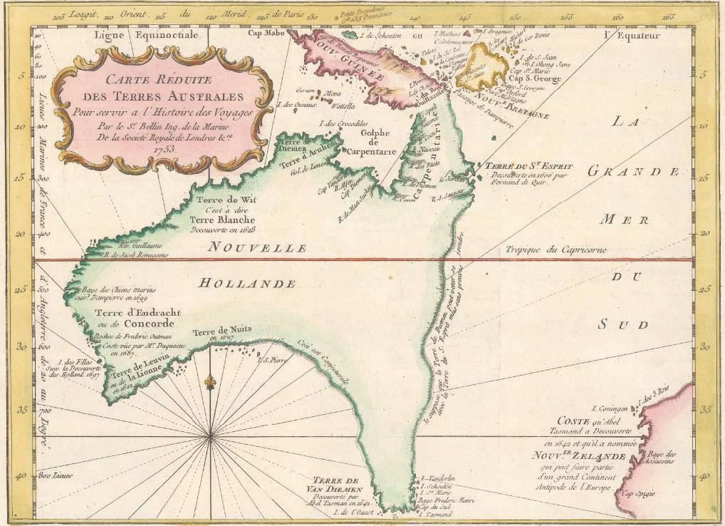 French Map of Australia and part of New Zealand (1753)