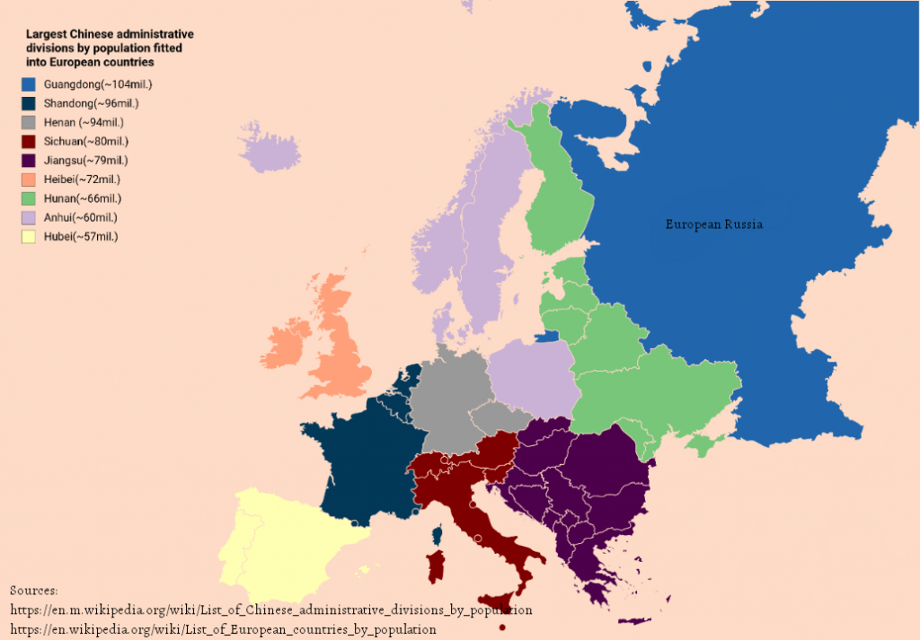 Larges Chinese administrative divisions by population fitted into European countries