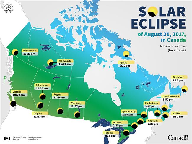 Time of maximum eclipse for different cities in Canada